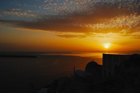 Ondergaande zon op Santorini