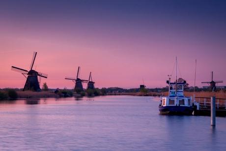 Pink sunrise Kinderdijk