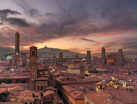Zonsondergang van Bologna