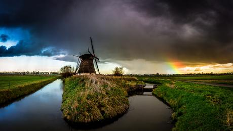 oude doornse molen met regenboog