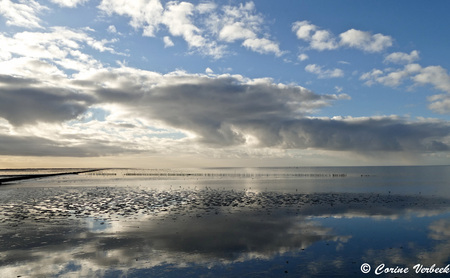L1130504 - Mooie spiegellucht bij de pier van Holwerd - foto door Cocopops op 16-01-2017 - deze foto bevat: lucht, water, panorama, licht, zonsondergang, spiegeling, landschap, tegenlicht, kust, wadden, waddenzee, holwerd, nederlandwaterland