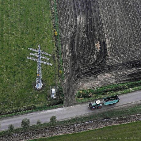 Nederlands landschap van boven