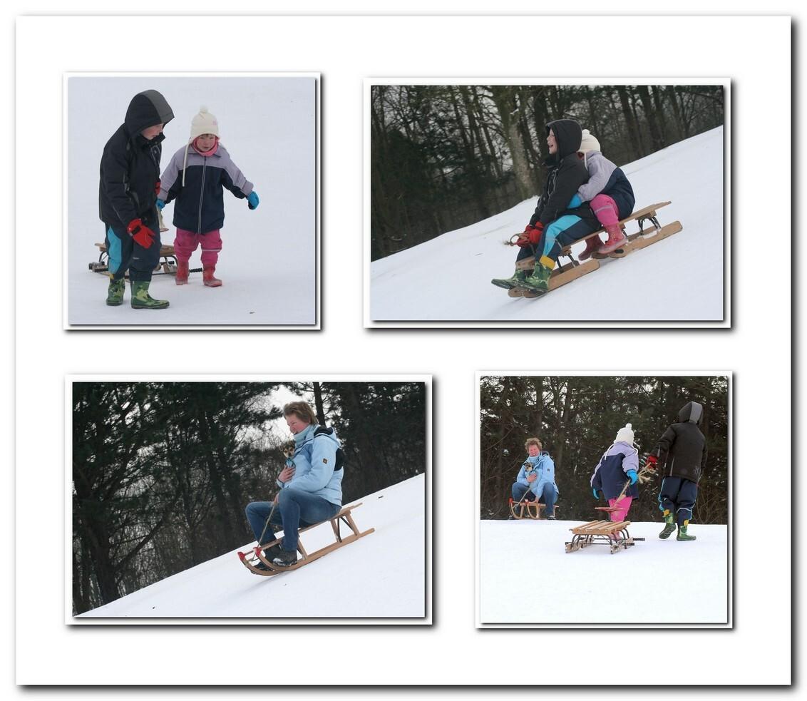 sledehond - We zijn vandaag wezen sleeën met de kinderen. Chico ging ook mee op de slee, bij Janneke onder de jas. Zo hadden wij op onze manier een sledehond. - foto door MarnixBakker op 13-01-2010 - deze foto bevat: kind, chico, slee, stekel, sledehond