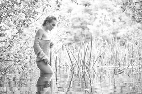 Wading the lake