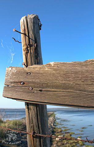 HDR Pole - Gemaakt tijdens GRATIS fotowandeling via www.pixelclass.nl - foto door casper_perdaems op 07-05-2011 - deze foto bevat: lucht, hek, water, paal, spijker, plank, hdr, fotowandeling, goeree overflakkee, www.pixelclass.nl
