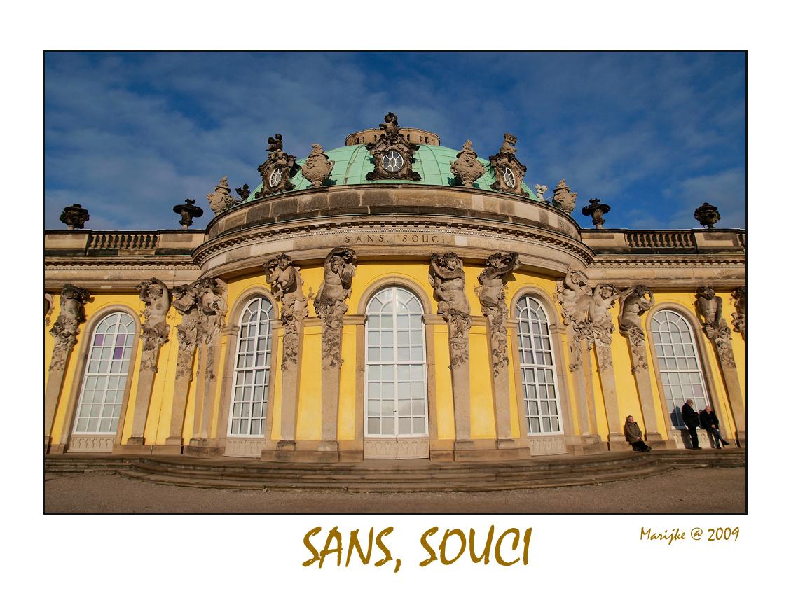 Sans, souci - Even buiten Berlijn ligt in Potsdam het Schloss Sanssoucci, het favoriete zomerverblijf van Frederik II. Hij wilde een plek hebben waar hij zonder zo - foto door ekeren op 23-02-2009 - deze foto bevat: sanssouci