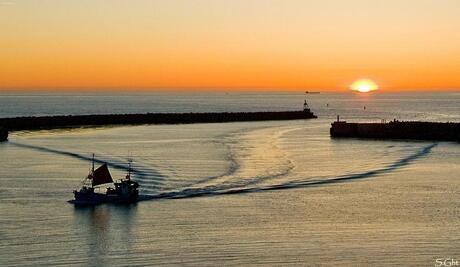 Voor zonsondergang de haven in