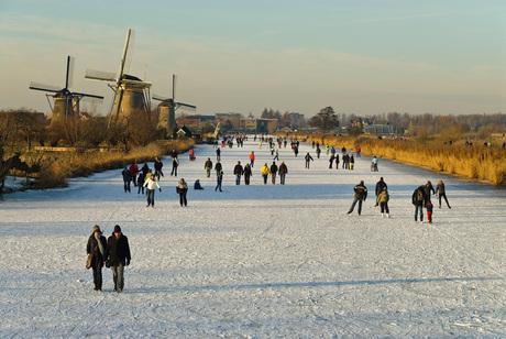 Nederlandse winter in Kinderdijk