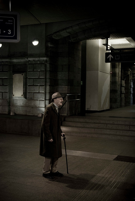 Old man at trainstation...