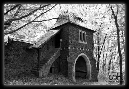 Tsjechië - 2012-06-17 - foto door sanne_rosbag op 18-05-2014 - deze foto bevat: oud, kasteel, architectuur, toren, zwartwit, verlaten, ruine, vervallen, urbex, urban exploring