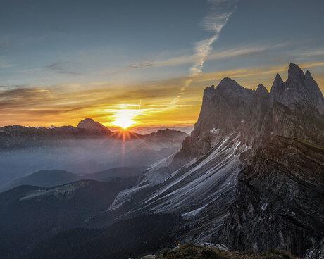 Sunrise above the Dolomites
