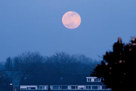 sneeuwmaan - De tweede volle maan in februari wordt de sneeuwmaan genoemd. Deze kwam vanavond door de bewolking wat zwak omhoog. Hij was even te zien om daarna in - foto door josvdboom op 27-02-2021
