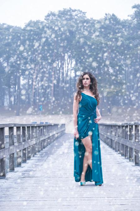 Lisette - model en mua : Lisette - foto door Gans op 01-01-2017 - deze foto bevat: vrouw, natuur, licht, sneeuw, model, haar, fashion, beauty, glamour, kapsel, jurk, mode, kleding, romantisch, fashionfotografie