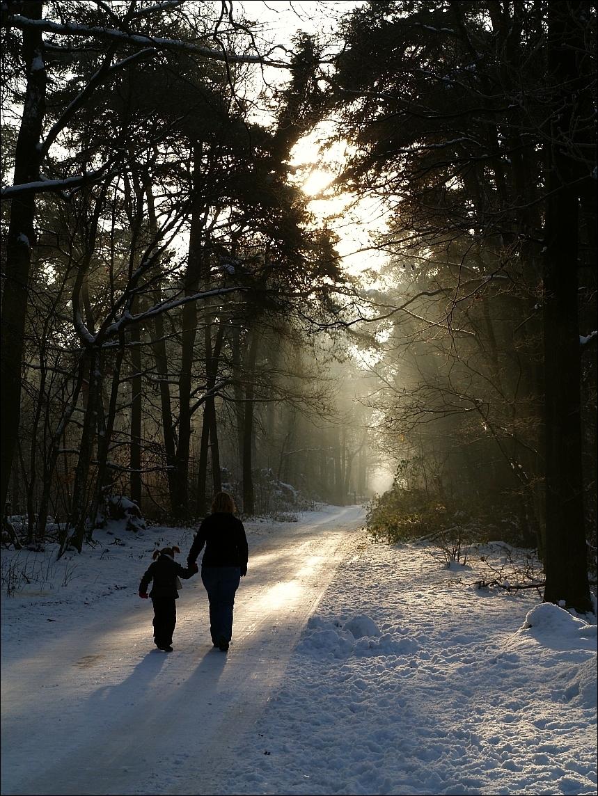 Sneeuwwandeling2 - Net als mijn vorige foto maar dan vanuit een andere hoek. Minder orgineel dan de vorige maar vooral het licht vind ik mooi.  Groet, Juri - foto door juriheise op 28-12-2009 - deze foto bevat: sneeuw, oisterwijk, wandeling