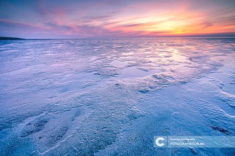 Eb op de Waddenzee tijdens zonsondergang