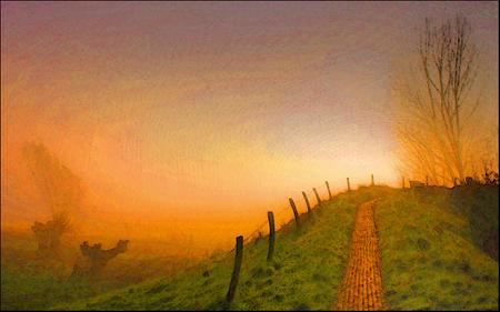 polderdijkje bij ondergaande zon en nevel !... - polderdijkje bij mij in de buurt.  ik ben nogal gefascineerd door V.van Gogh en heb geprobeerd van m'n foto in die bijzondere stijl een schild - foto door christinel op 29-01-2012 - deze foto bevat: christinel, V.v.G. van Gogh, gouden kleuren