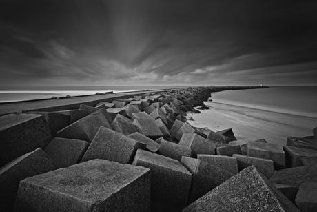 Dark clouds over Scheveningen harbor