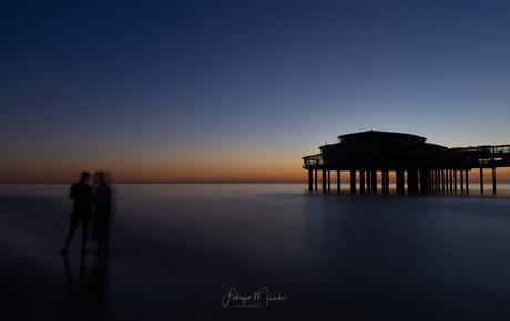 Pier at sunset-dark mood