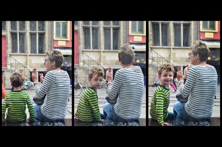 Busted - Ik zag moeder en zoon in 'streepjes' al  ijsjes etende wachtend op de bus, ik probeerde een mooi shot te maken, wachtend op de juiste houding.. maar  - foto door br4mbusink op 18-07-2017 - deze foto bevat: mensen, straat, jongen, straatfotografie, serie