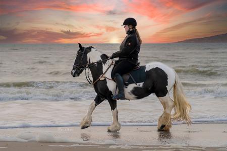 Venna tinkergirl - Mooie Venna met amazone Rianne - foto door Brig19 op 08-03-2021 - deze foto bevat: strand, zee, water, paard, tinker