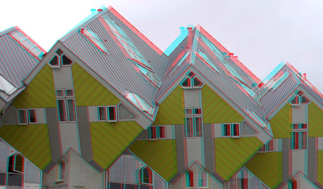 Kubus-woningen Blaak Rotterdam 3D - Kubus-woningen Blaak Rotterdam 3D GF3 cha-cha    anaglyph stereo - foto door hoppenbrouwers op 30-06-2020 - deze foto bevat: rotterdam, 3d, anaglyph, blaak, stereo, red/cyan, kubus-woningen, cubic-houses