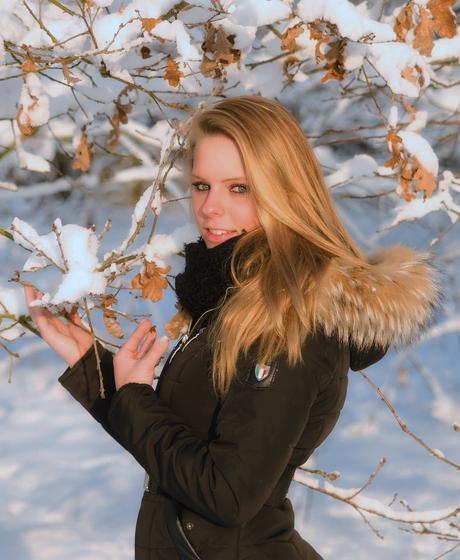 In de sneeuw
