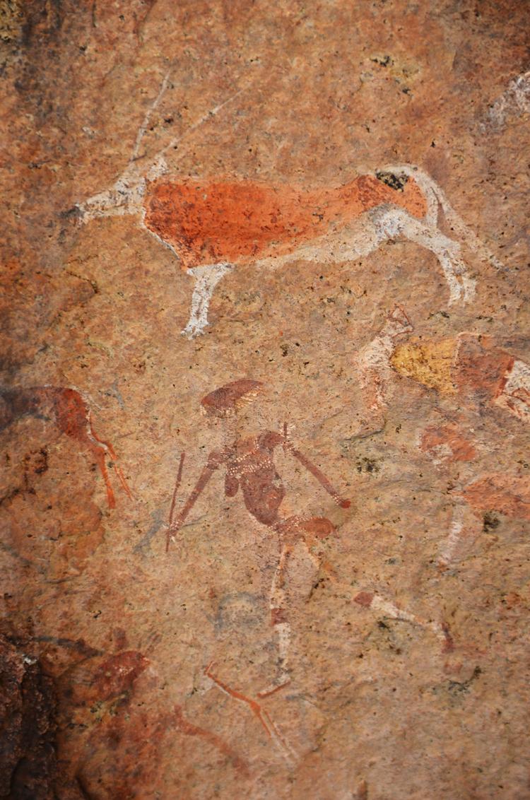 White Lady - De White Lady rotstekeningen bij de Brandberg, Namibië. Zo genoemd omdat één van de figuren (niet dit figuur) op een blanke vrouw leek. De blanke vro - foto door Blackscorpion op 07-04-2013 - deze foto bevat: oud, afrika, namibie, rots, tekening, grafiti