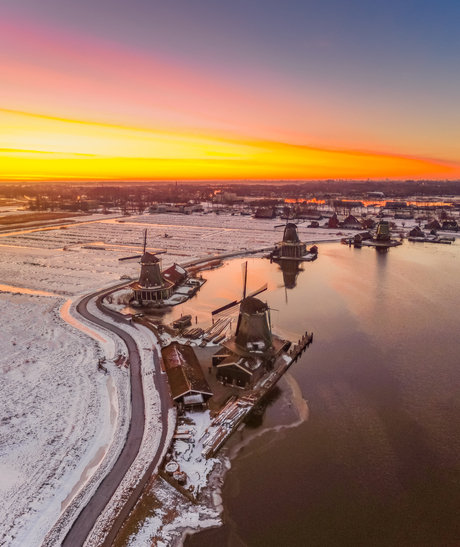 Sunrise Above a Snowy Dutch Landscape
