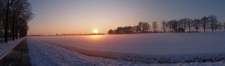 Panorama Zonsondergang Winter