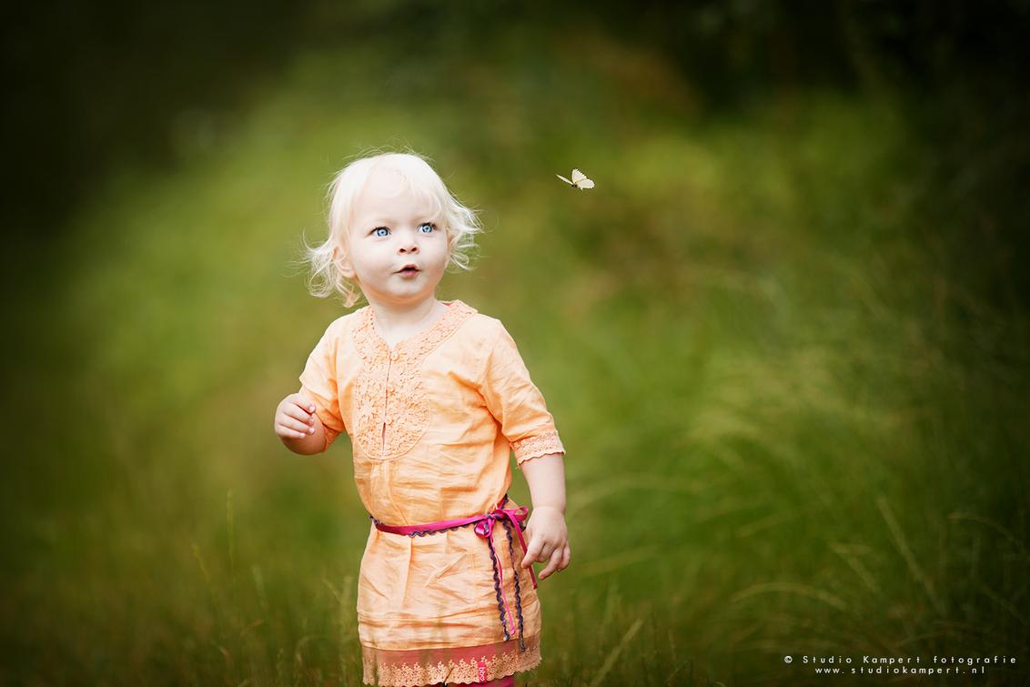 Hello butterfly! - Prachtig klein meisje van nog net geen 2 jaar.. heerlijk een kind, kind te laten zijn en fotograferen puur zoals ze zijn! - foto door Maaike Kampert op 27-06-2016 - deze foto bevat: mensen, vlinder, licht, portret, daglicht, kind, kinderen, meisje, lief
