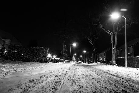 Langkampweg by night with snow 02
