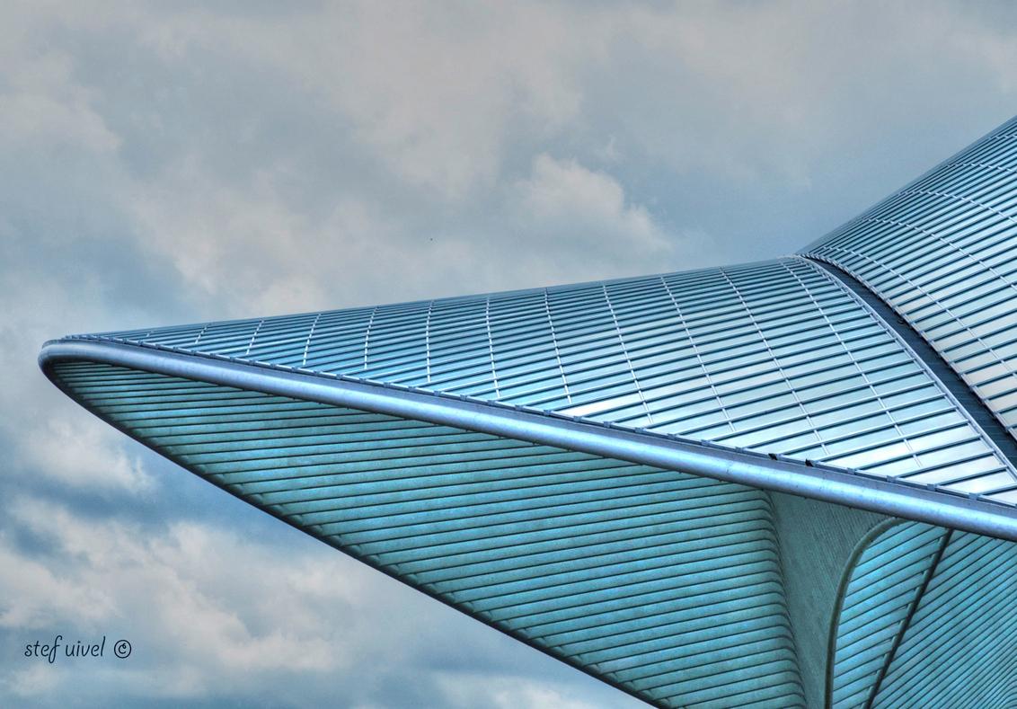 Guillemins - Deel van het dak van het treinstation in Luik. - foto door stefuivel op 12-04-2013 - deze foto bevat: architectuur, dak, belgie, luik, hdr, guillemins