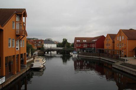 Houten huisjes in Kristiansand/ Noorwegen