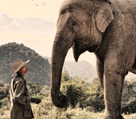 The approach - De mahout benadert 'zijn' olifant - foto door laurenskobus op 13-01-2012 - deze foto bevat: olifant, mahout