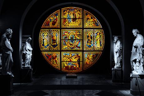 Het glazen raam van de kathedraal van Siena