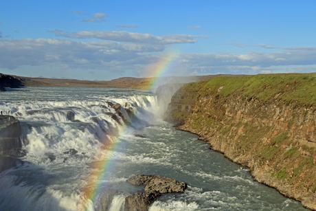 Gullfoss IJsland, gouden waterval vanwege regenboog