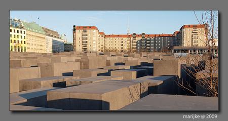 Berlijn 17 - Gedenkteken voor de 6 miljoen vermoorde joden van Europa, midden in Berlijn, op steenworp afstand van de Reichstag, Brandenburgertor en de vroegere M - foto door ekeren op 24-02-2009 - deze foto bevat: berlijn, gedenkteken, beton, holocaust, betonzuilen
