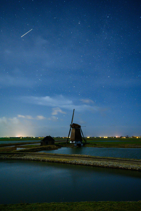 Molen op Texel in de avond