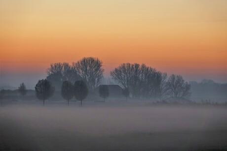 Een mistige koude morgen