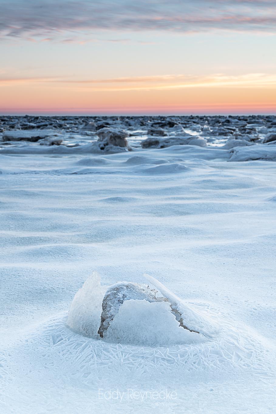 Dino Egg - DINO EGG  Gebarsten ijs bij Punt van Reide. zien jullie de details op de voorgrond en het gebarsten ijs? Heel mooi.  (En ja, de achtergrond is ni - foto door eddy-reynecke op 19-02-2021 - deze foto bevat: lucht, wolken, zon, zee, water, dijk, natuur, licht, sneeuw, winter, ijs, spiegeling, landschap, tegenlicht, zonsopkomst, kust, wadden, wad, lange sluitertijd, arctic vibes