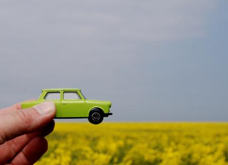 Groene auto rijdt op koolzaad