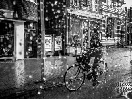 regendruppels op de bushalte