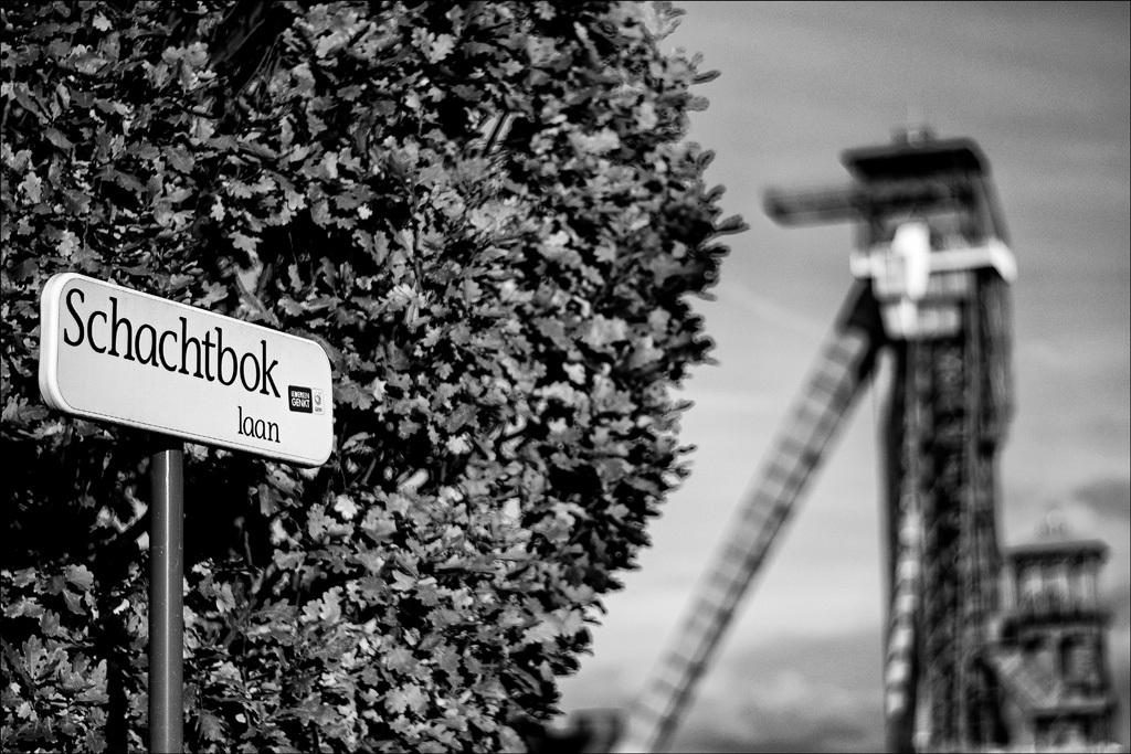 zonder woorden - de achtergrond laat zien waarom hoe deze straat aan haar naam komt - foto door JboFoto op 10-04-2021 - locatie: C-Mine, 3600 Genk, België - deze foto bevat: schachtbok, straatnaam, zwart wit, c-mine, genk 3600, lucht, zwart, zwart en wit, motorvoertuig, oriëntatiepunt, lettertype, stad, monochrome fotografie, weg, gras