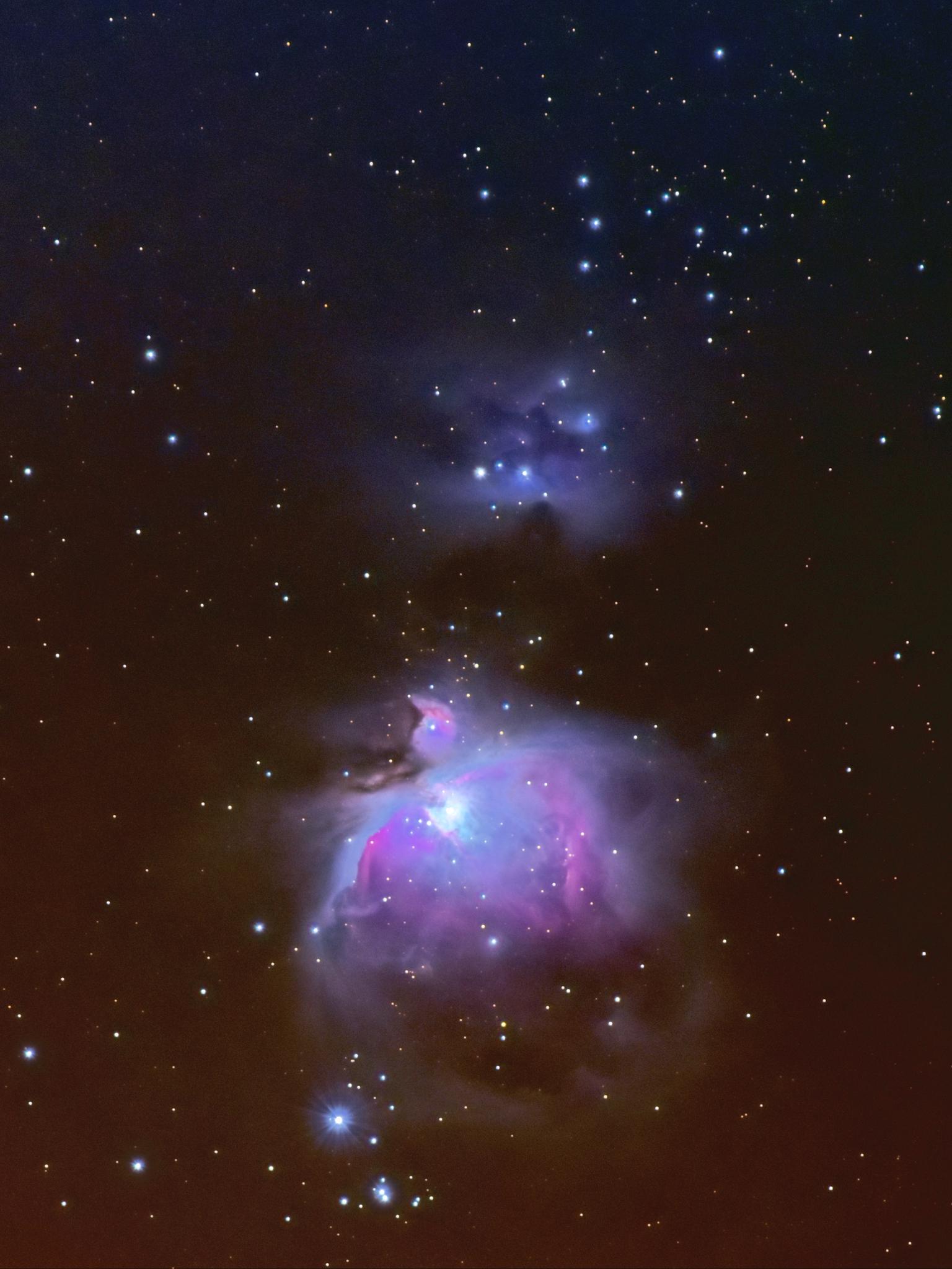 M42 Orion nevel - Opnames gemaakt op 12 februari 2021 met Nikon D7200 en Tamron 100-400 mm. Gebruikte brandpuntsafstand van 300mm en f/7.1.  De iOptron Skyguider Pro v - foto door ALEBruil op 15-04-2021 - locatie: Houten, Nederland - deze foto bevat: astrofotografie, orion nevel, m42, lucht, nevel, heelal, ster, astronomisch object, wetenschap, kunst, middernacht, astronomie, elektrisch blauw