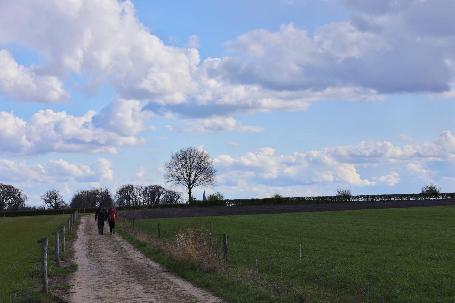 Wandelen - Tijdens een mooie wandeling met prachtig weer heb ik deze foto gemaakt. - foto door BobEnsink op 13-04-2021 - deze foto bevat: wolk, lucht, fabriek, boom, natuurlijk landschap, land veel, mensen in de natuur, landbouw, cumulus, voertuig