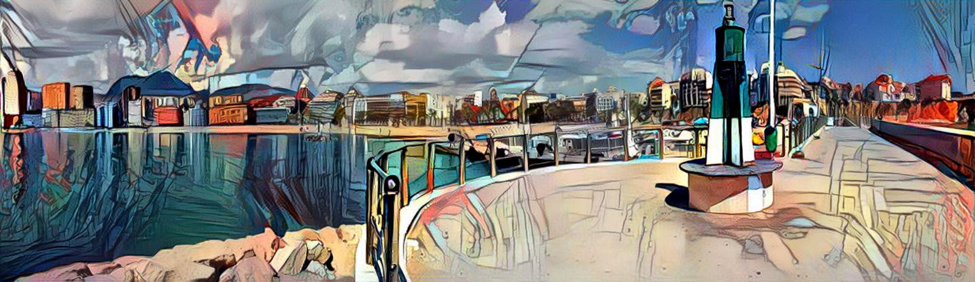 Panorama (bewerkt) - Opname van de haven van Benidorm bewerkt met Deep Dream Generator - foto door awduijts op 07-04-2021 - deze foto bevat: verf, water, stedelijk ontwerp, kunst, vrije tijd, schilderen, lucht, stad, landschap, aquarel verf