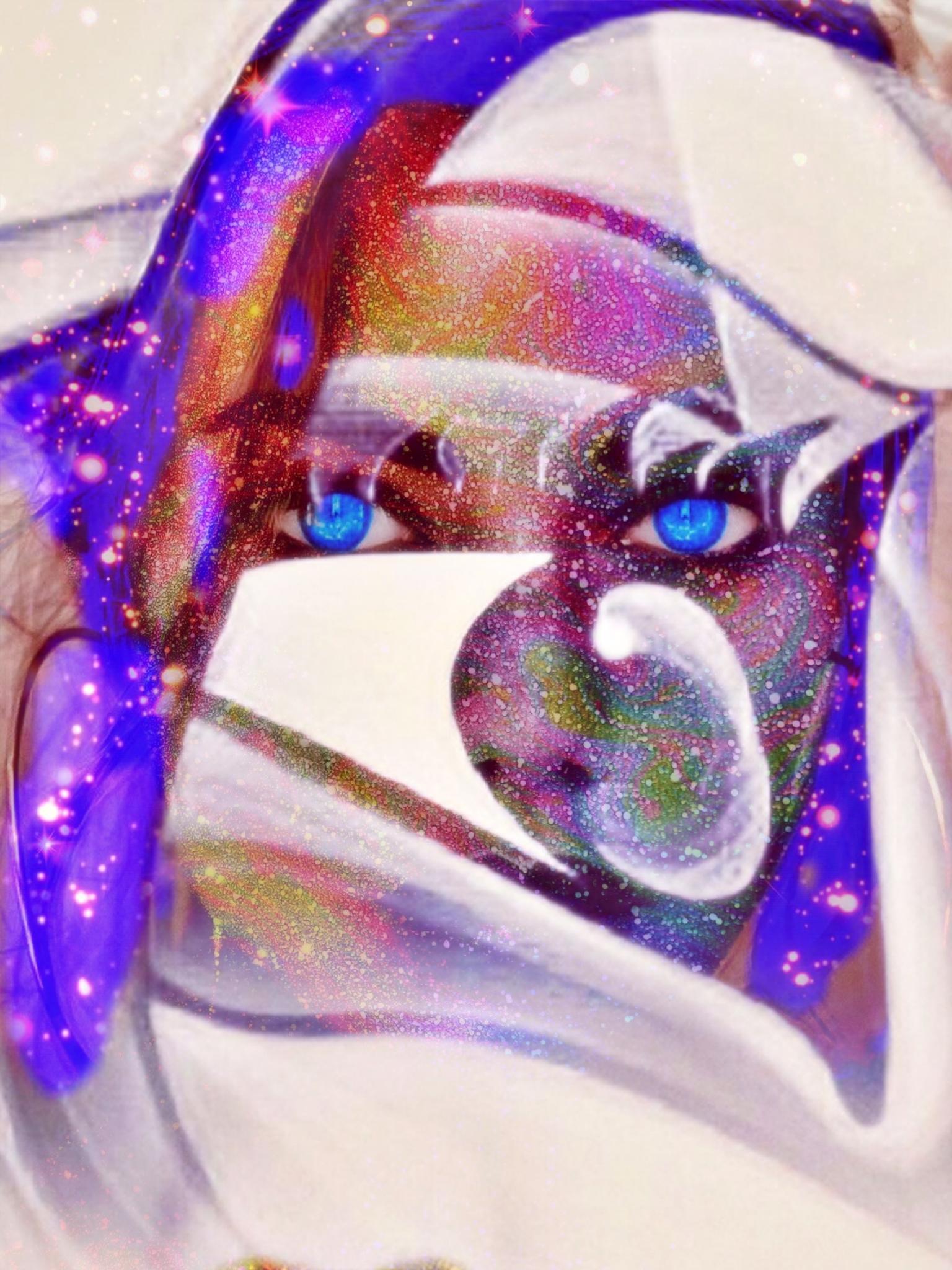 Blue eyes - xx - foto door Gooiseroos op 16-04-2021 - deze foto bevat: purper, wimper, paars, roze, glitter, materiële eigenschap, ornament, magenta, sieraden, kerst versiering