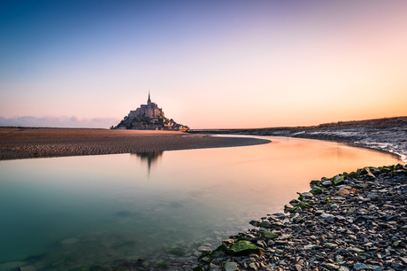 Zonsopkomst bij Mont Saint-Michel