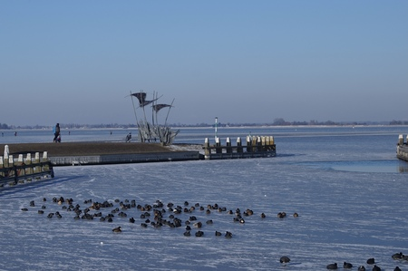 Winter - Stilte voor de drukte! - foto door Anneke1955 op 13-04-2021 - locatie: 1156 Marken, Nederland - deze foto bevat: water, lucht, gewervelde, vogel, zoogdier, kust- en oceanische landvormen, meer, bevriezing, ochtend, horizon