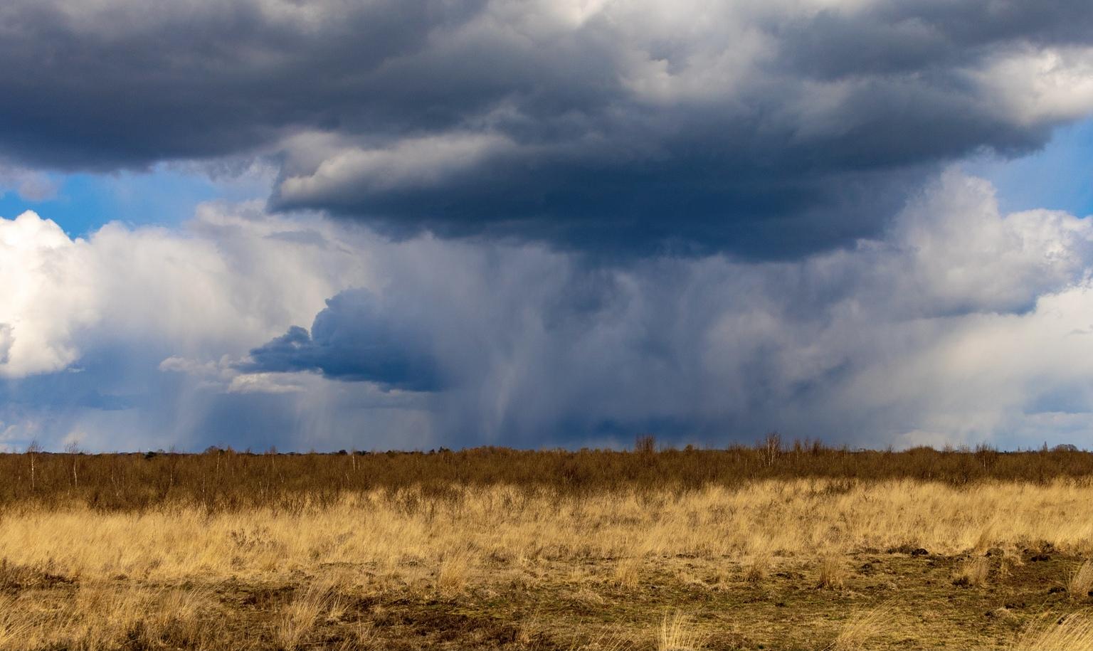 Haaksbergerveen - Dreigende lucht boven het Haaksbergerveen,een hoogveengebied vlakbij de Duitse grens en leefgebied van de adder(Zie vorige foto) - foto door GerardvO op 14-04-2021 - deze foto bevat: wolk, lucht, atmosfeer, fabriek, azuur, natuurlijk landschap, atmosferisch fenomeen, cumulus, horizon, landschap